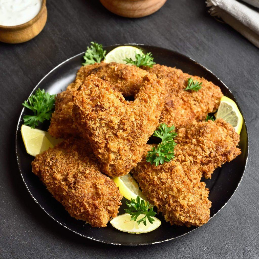 Fried breaded chicken wings